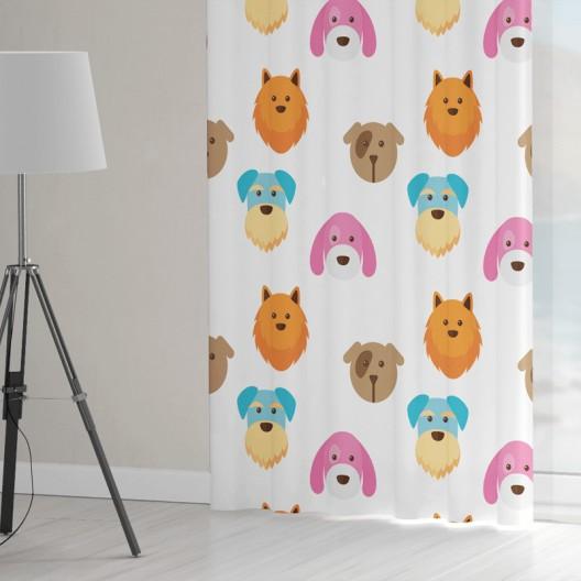 Detské závesy šité na mieru s krásnou farbenou potlačou psíkov