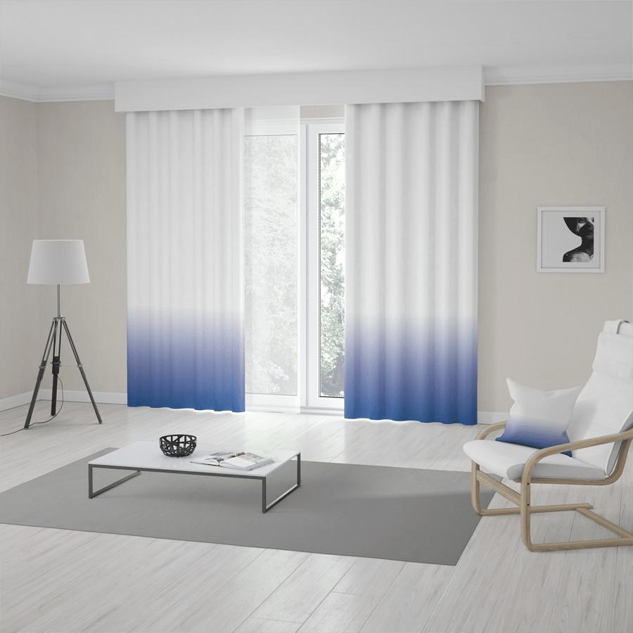 Unikátne bielo modré ombré závesy šité na mieru