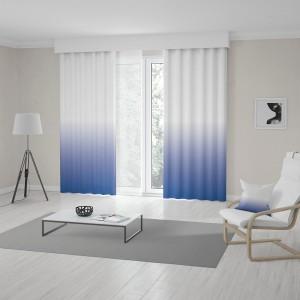 Štýlové bielo modré závesy šité na mieru s vyšším ombré efektom