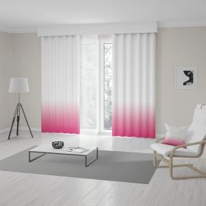 Ombré bielo ružové závesy do obývačky šité na mieru