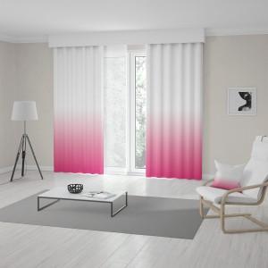 Dekoratívne závesy do obývačky v ružovej farbe s módnym ombré efektom