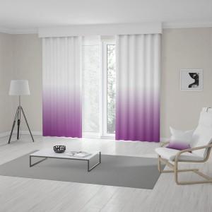 Bielo fialový záves šitý na mieru s trendy vysokým ombré designom