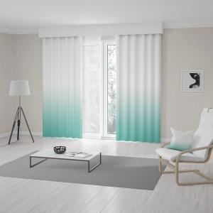 Elegantné závesy šité na mieru tyrkysovo bielom ombré designe
