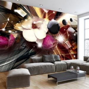 Moderná 3D tapeta v abstraktom prevedení s kvetom