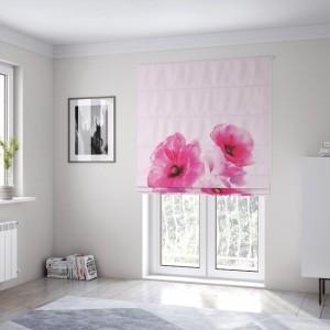 Krásna svetlo ružová roleta na okná šitá na mieru s kvetmi vlčí mak