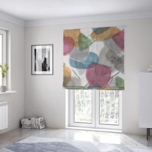 Abstraktná farebná látková okenná roleta šitá na mieru