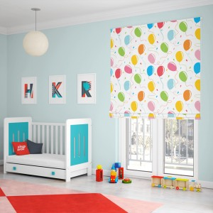 Krásna látková roleta do detskej izby s motívom balónov