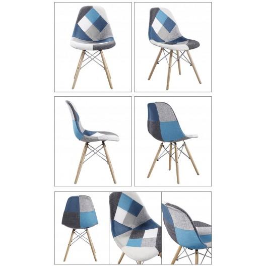 Pohodlná interiérová stolička v štýle patchwork do obývačky