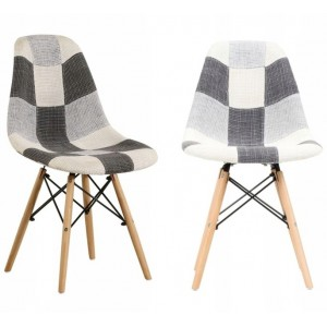 Moderná jedálenská stolička s čalunením patchwork