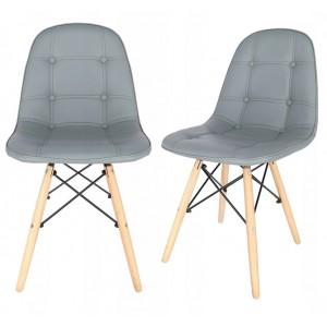 Sivá interiérová stolička s čalunením z eko kože