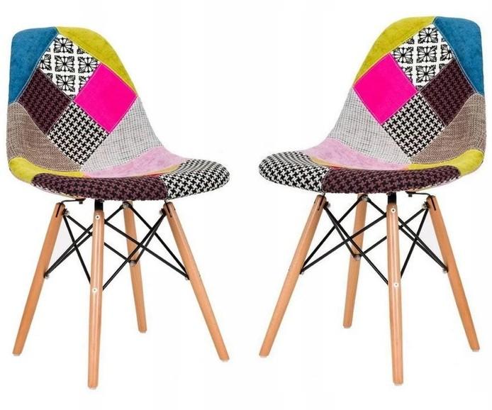 DomTextilu Moderná pestrofarebná stolička v škandinávskom štýle 14859