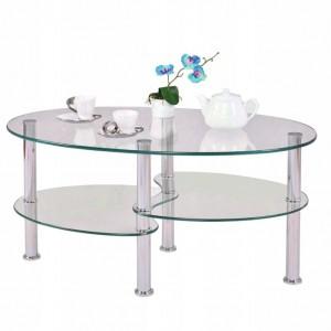 Sklenený konferečný stôl s dvojúrovňovými policami