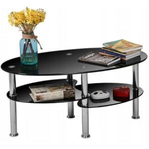 Čierny sklenený konferenčný stolík do obývačky