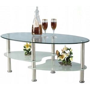 Luxusný stolík do obývačky s policami z mliečneho skla