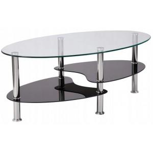 Konferenčný stolík s policami z čierneho skla