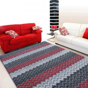 Koberec do obývačky v červeno sivej farbe