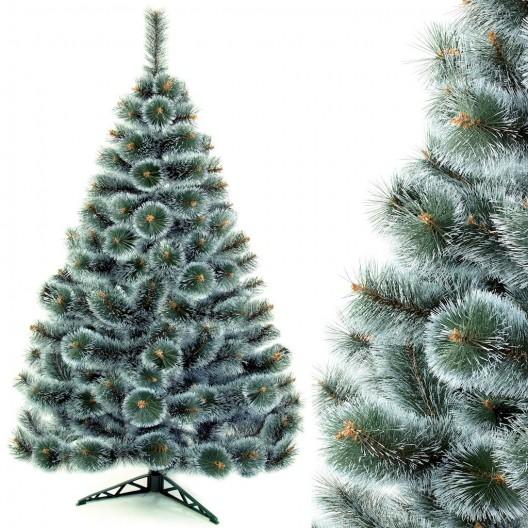 Hustá vianočná borovica so zeleno bielym ihličím
