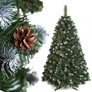 Vianočný stromček s bielymi vetvičkami a šiškami