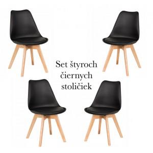 Set štyroch čiernych stoličiek za zvýhodnenú cenu