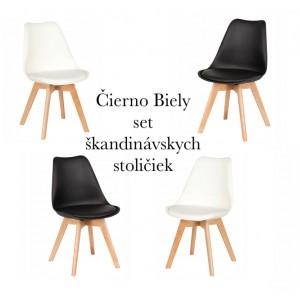 Moderné stoličky v sete bielej a čiernej farby