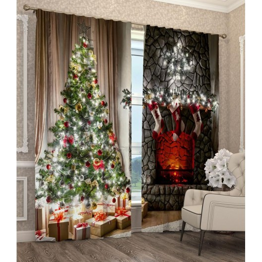 Závesy s 3D motívom vianočného stromčeka a krbu