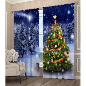 Krásny 3D záves s vianočným stromčekom