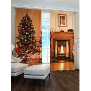 Vianočný 3D záves s krbom a vianočným stromčekom