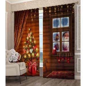 Vianočný záves so stromčekom a mikulášom