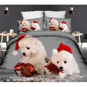 Sivé posteľné obliečky so šteniatkami