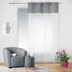 Jemná biela záclona so sivou vrchnou časťou  DUCHESSE
