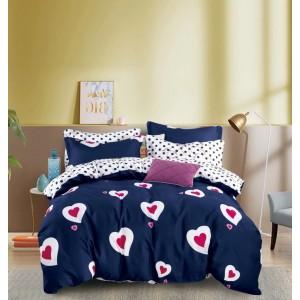 Tmavo modré obojstranné posteľné obliečky so srdiečkami