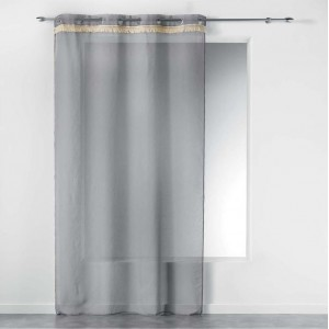 Jednofarebná sivá záclona do obývačky FRANGY