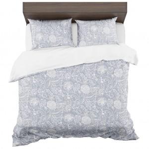 Obojstrané posteľné obliečky z mikrovlákna sivo biele s motívom kvetov