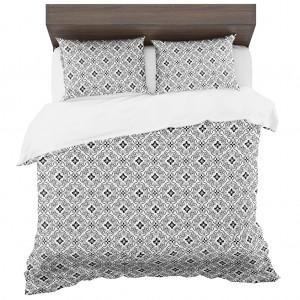Štýlové škandinávske posteľné obliečky bielo čierne z mikrovlákna