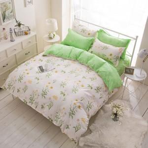 Zelené obojstranné posteľné obliečky s motívom kvetov