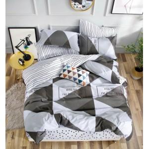 Obojstranné posteľné obliečky s geometrickým vzorom sivej farby