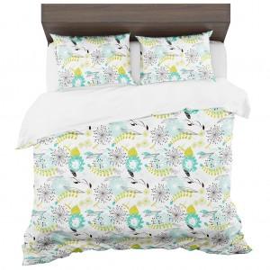 Obojstranné posteľné obliečky bielo modré s motívom rozkvitnutých púpav