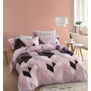 Vzorované obojstranné posteľné obliečky ružovej farby