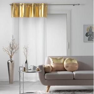 Moderná biela záclona so zlatou vrchnou časťou METALLIC