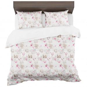 Béžové posteľné obliečky z mikrovlákna s motívom kvetov