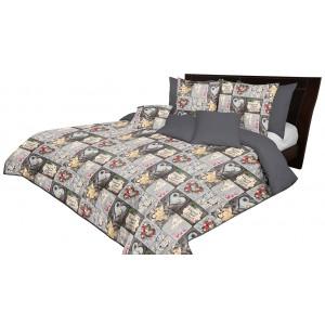 Obojstranný sivý prehoz na posteľ s motívom HOME SWEET HOME