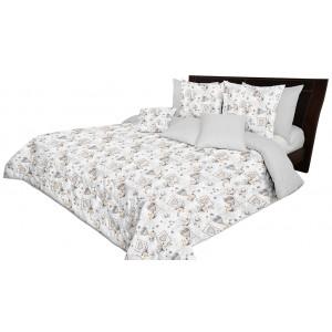 Svetlo sivý obojstranný prehoz na posteľ s motívom sŕdc