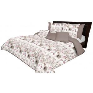 Krásny béžovo hnedý obojstranný prehoz na posteľ s vintage motívom
