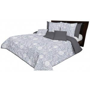 Štýlový sivý obojstranný prehoz na posteľ s potlačou bielych kvetov