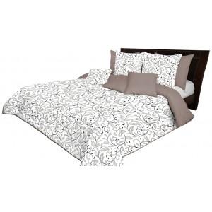 Krásny béžovo biely obojstranný prehoz na posteľ s ornamentami listov