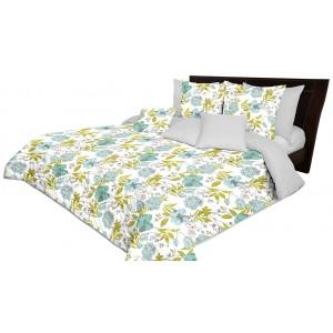 Obojstranný prešívaný sivo zelený prehoz na posteľ s motívom kvetov