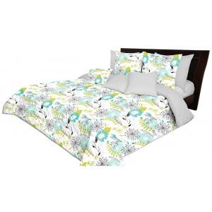 Štýlový obojstranný sivý prehoz na posteľ s potlačou rozkvitnutých púpav