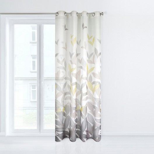 Hotový dekoračný záves do obývačky s motívom listov