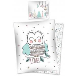 Bavlnené biele vianočné posteľné obliečky s motívom sovy