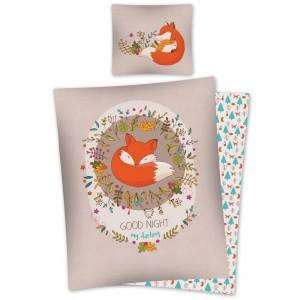 Béžové bavlnené posteľné obliečky s detským motívom líšky